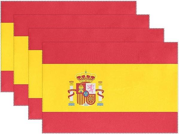 DEZIRO - Manteles de mesa con aislamiento térmico de la bandera de España para mesa de comedor, cocina y mantel individual resistente, poliéster, 1, 4 piezas: Amazon.es: Hogar
