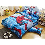 Home Textile Cartoon Pattern Bedding Students Duvet Cover Set, Kids Bed Sheets Boys Girls (Spider-Man, Twin Size 4Pcs)