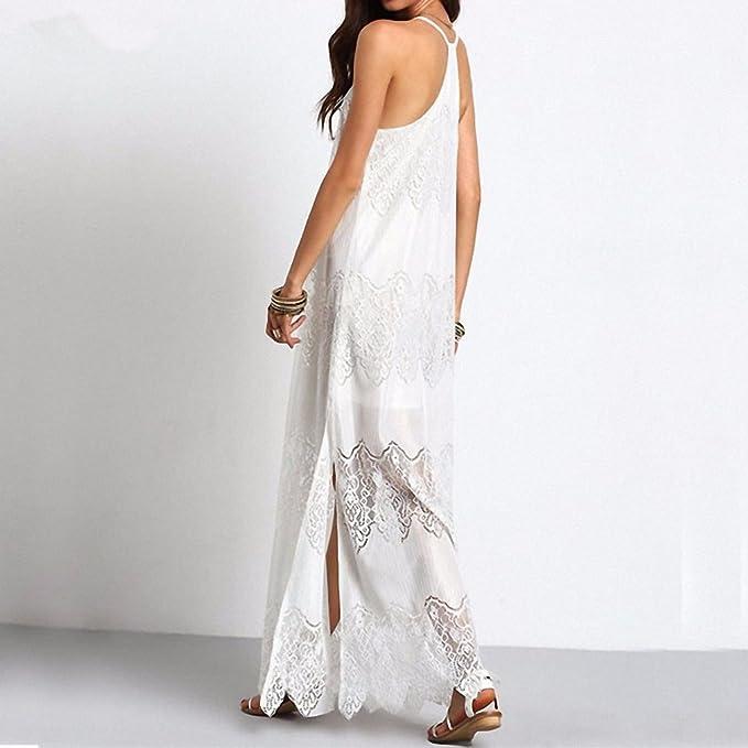Long Maxi Dresses NEW Women Boho Vestidos Summer Beach Wear Cream Deep V Neck Split Slip Sleeveless Dresses Plus Size Black XL at Amazon Womens Clothing ...