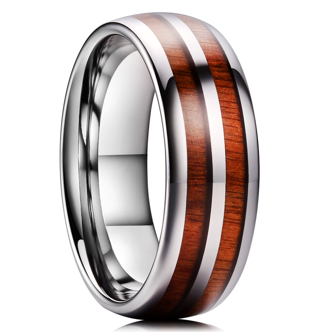 King Will Nature 8mm Mens Domed Double Rosewood Wood Inlay Tungsten Carbide Ring Wedding Band Polished Finish Comfort Fit 7.5