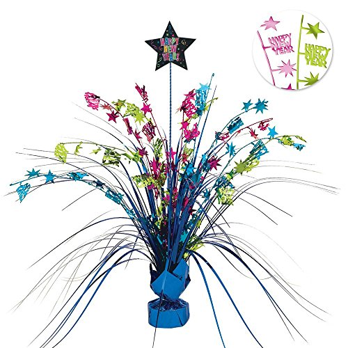 Sparkling Jewel Tones New Year Party Spray Table Centerpiece Decoration, Multi Colored, Foil, 15