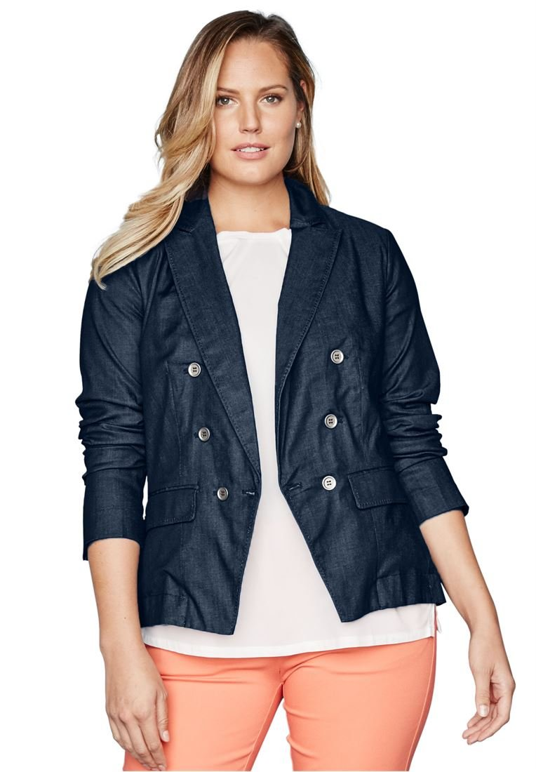 Jessica London Plus Size Denim Double Breasted Blazer (Indigo,24)