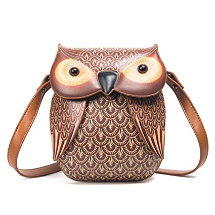 BZWZH Womens Cute Owl Shoulder Bag Cross Body Bag Chain Purse Handbag Personality 3D Mini Cartoon
