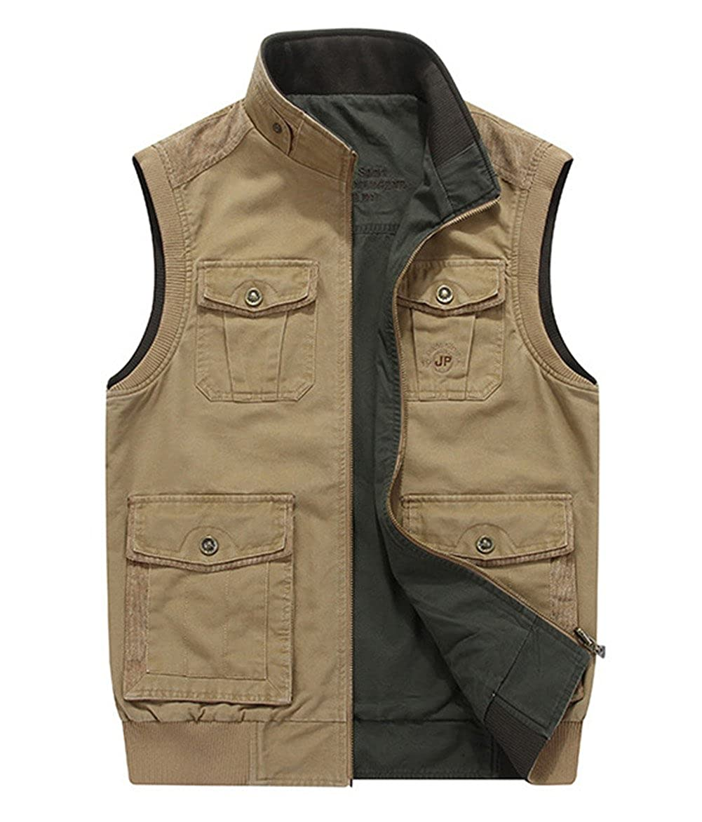 Men's Cotton Military Gilets Vest Outdoor Multi Pockets Sleeveless Jacket Fishing Hunting Shooting Farming RYZY-MJ9959