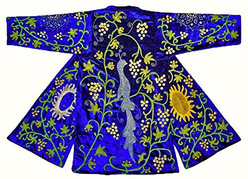 WONDERFUL UZBEK SILK EMBROIDERED ROBE CHAPAN''SPRING GARDEN'' A2057 by East treasures