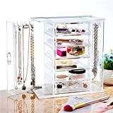 FabricMCC Clear Jewelry Box and Makeup Organizer Set with 6 Drawer and 2 Side Swings, Transparent Polystyrene Jewelry Storage