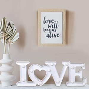 Cheerin Love Sign Decoration – Table Top Decor for Valentines Day – Wedding Decorations – Marquee Light Up Signs – Anniversary Engagement Proposal Party Favor (White)