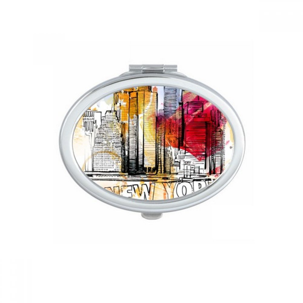 New York City America The United States Hand Drawing Oval Compact Makeup Pocket Mirror Portable Cute Small Hand Mirrors Gift