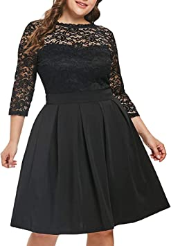 Amazon Com Wuai Women S Plus Size Casual 3 4 Sleeve Floral Lace Dress Oversized Cocktail Party A Line Swing Dress Black X Large Home Improvement,How To Properly Set A Table Youtube