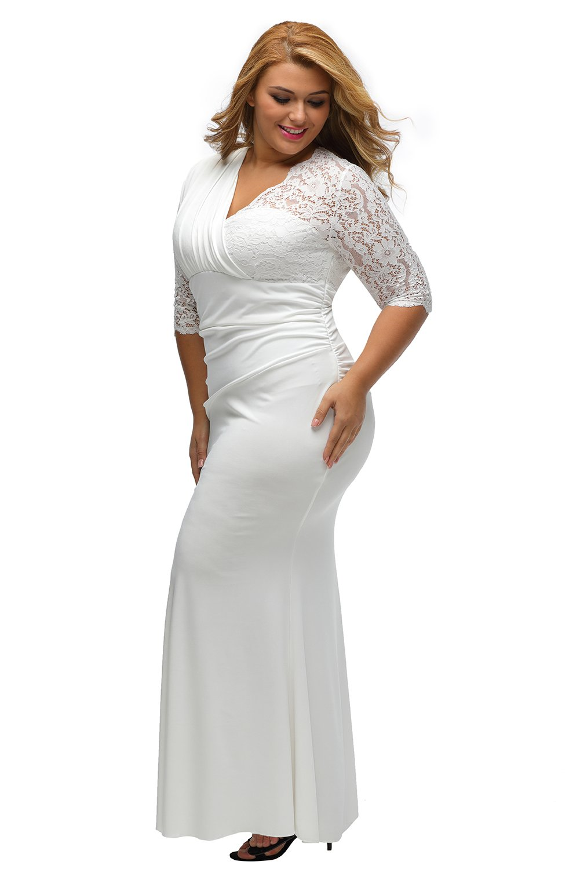 XAKALAKA Women's Lace Sleeve Evening Gown Wedding Plus Size Maxi Dress size 2X (White)
