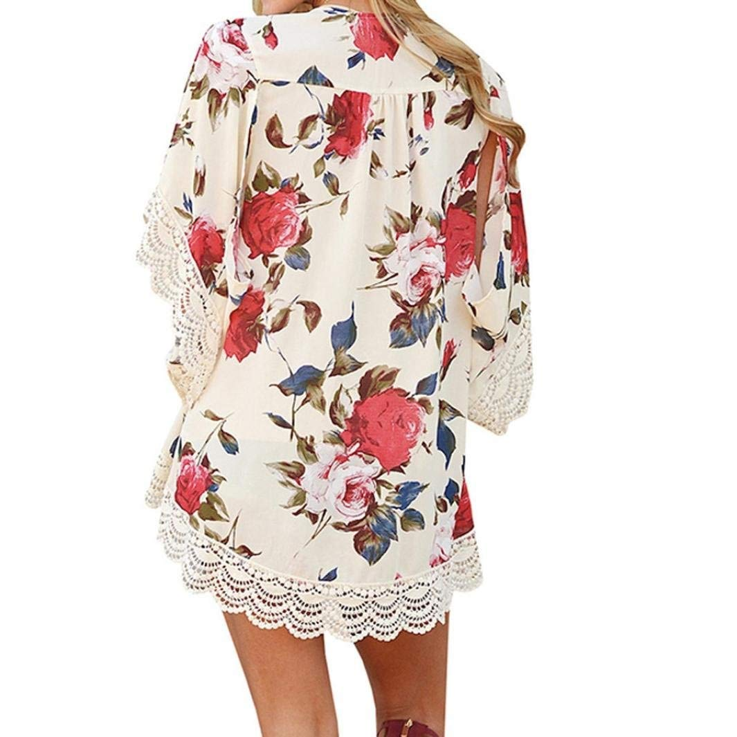 Go-First Womens Beach Cardigan Summer Leisure Elegant Chiffon Ethnic Swimsuit Shawl with Personality Lace Classic Cozy Loose Lightweight Bohemia Temperament Swing Dress (Color : Beige, Size : XL) by Go-first Women Swimwear Cover Ups (Image #2)