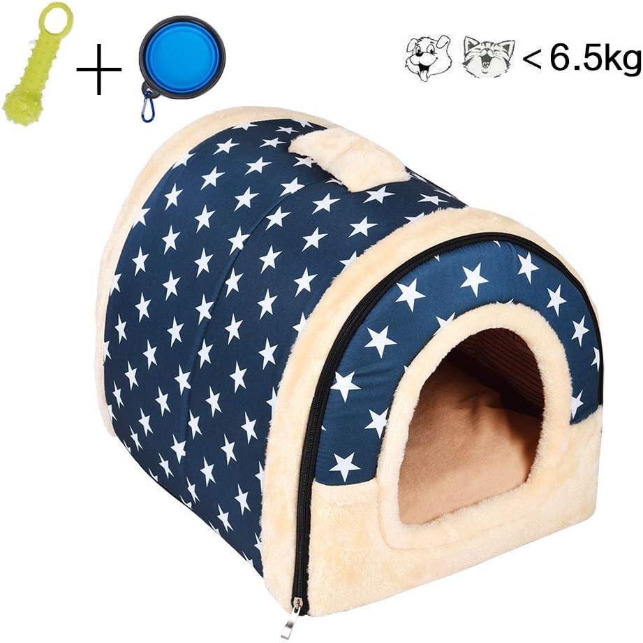 Enko 2 en 1 Cómodo Casa para Mascotas y Sofá, Interiores y Exteriores Portátil Plegable de Cama para Perro/Cama para Gato. Una Casa Caliente para su Mascota. (Medium, Blue)