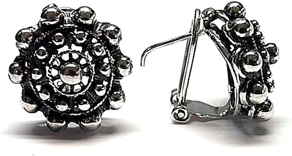 Pendientes Plata Ley 925M Oxidado 17mm. Charro Cierre Omega Mujer