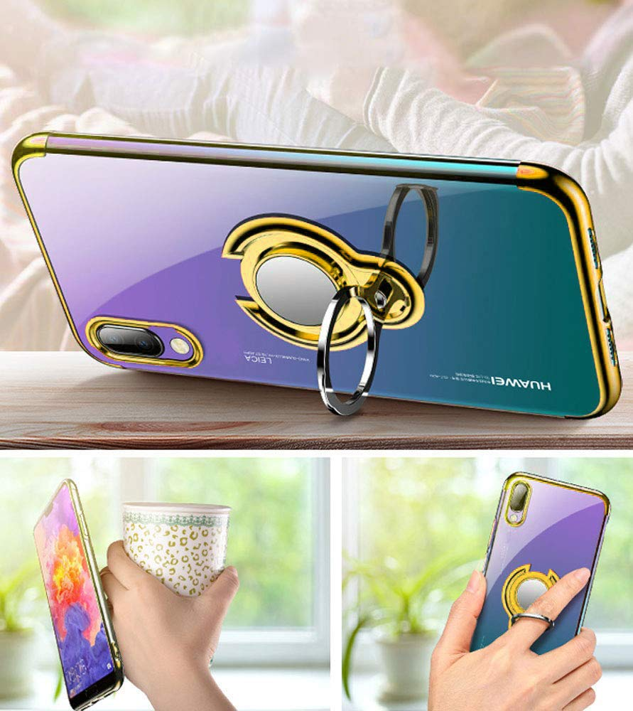 Alsoar Sottile Cover Compatibile per Huawei P Smart Z,Trasparente Silicone Custodia per Huawei P Smart Z con Girevole Fit TPU Morbido Anello,con Supporto Adatto per Supporti Magnetici Auto blu