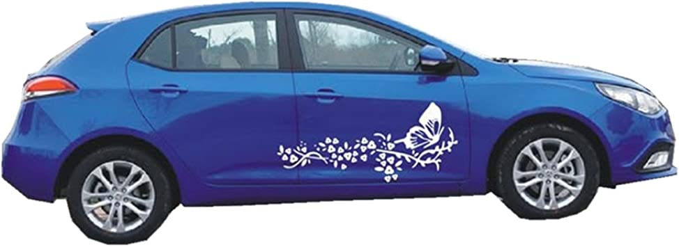 Flower//Butterfly Graphic x2 Vinyl Car Stickers//Decals Any Colour