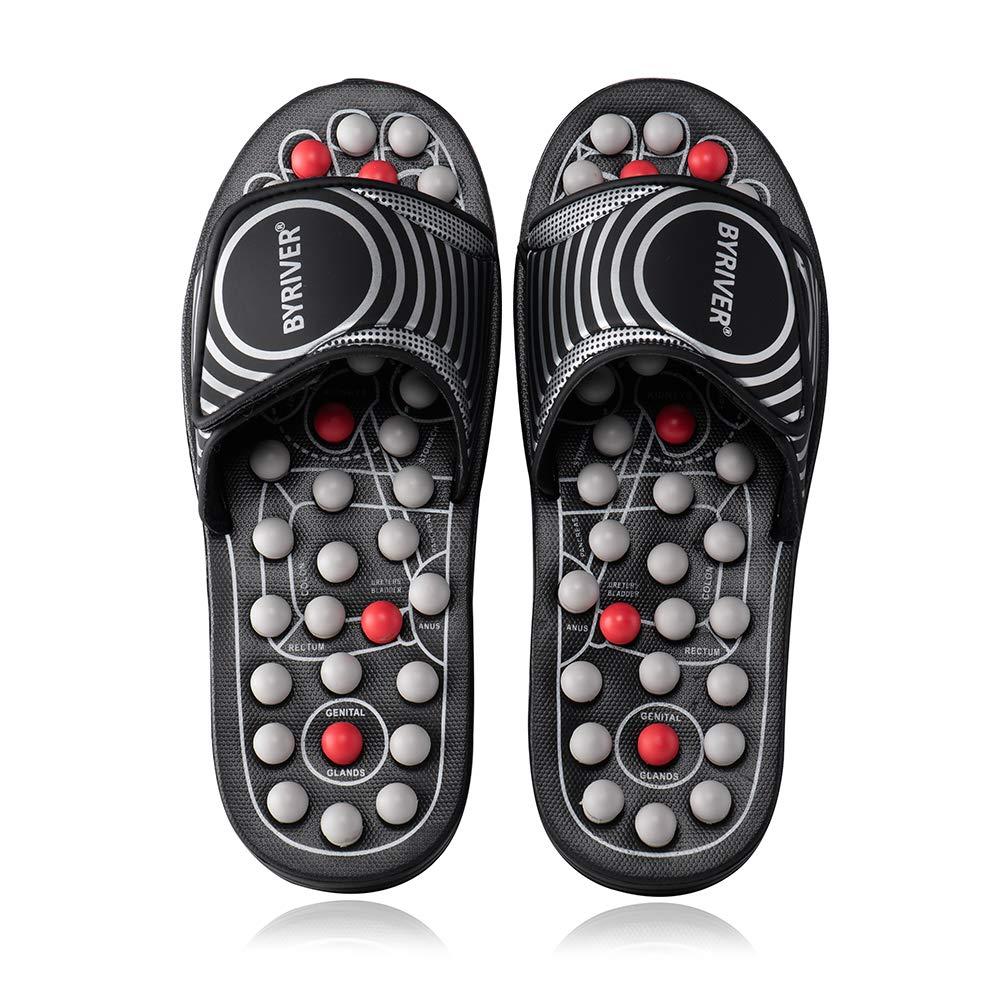 BYRIVER Acupressure Foot Massager Acupoint Massage Ball Roller Slippers Shoes Reflexology Sandals for Men Women(BS)