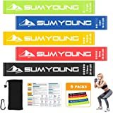 """Resistance Loop Bands, Premium Latex Mini Exercise Bands for Stretching, Yoga, Strength Training, Home Fitness, Physical Therapy, Set of 5 Power Workout Bands with Manual, Carry Bag, Carabiner, 24""""x2"""""""