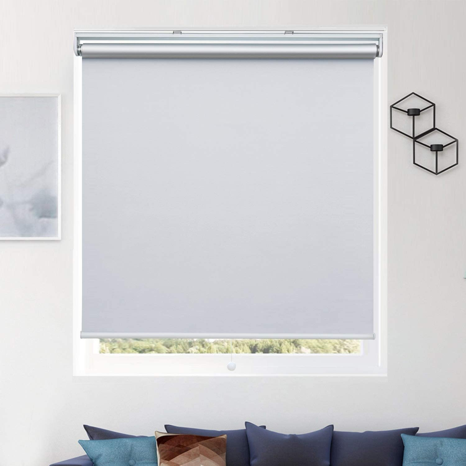"""Donutse 100% Blackout Fabric Shades Cordless Roller Shades for Windows, Window Blinds and Shades for Home and Office, Thermal Insulated, UV Protection, White, 35"""" W x 72"""" H"""