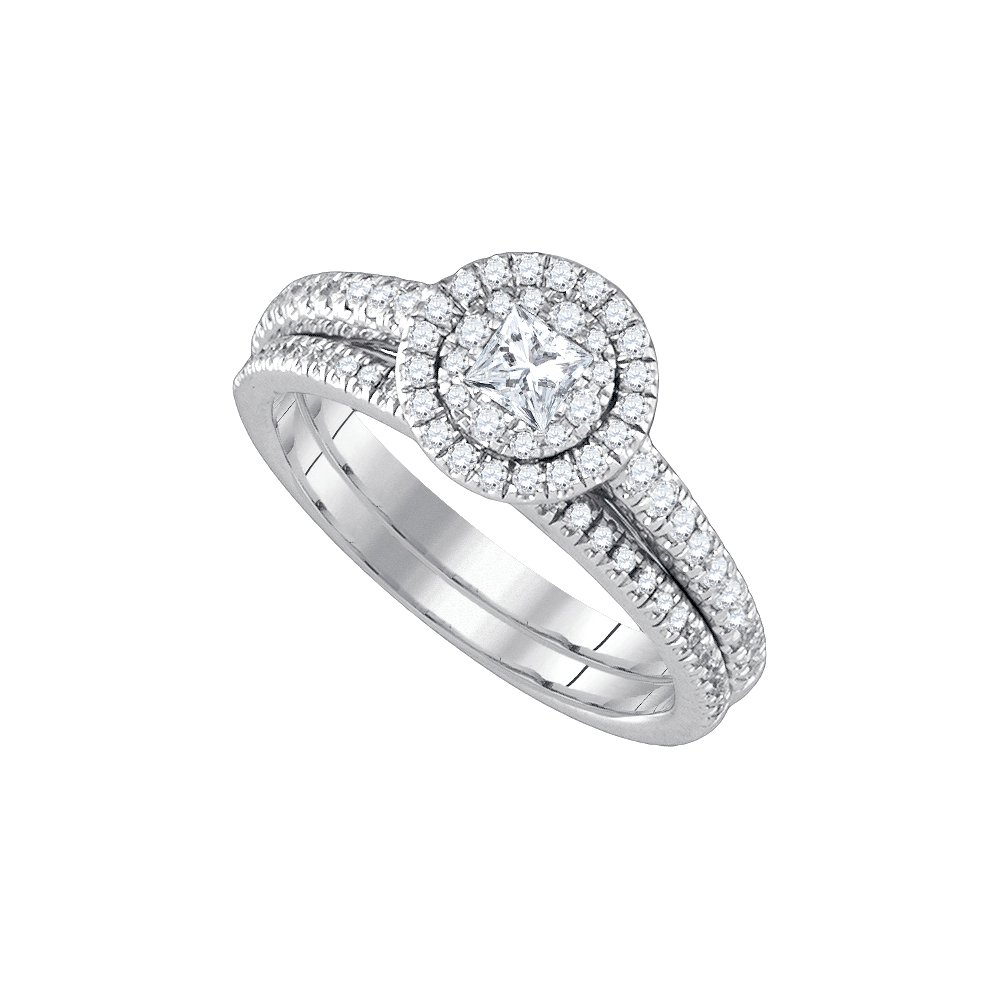 14k White Gold Princess Round Natural Diamond Halo Cluster Womens Wedding Bridal Ring Set (4/5 cttw.) (SI2-I1)