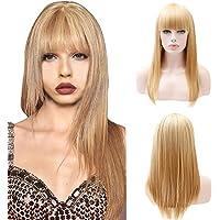 [por Yinsoouli] Peluca delantera de encaje rubia, pelucas rectas largas Peluca de reemplazo de cabello con flecos sintéticos realistas 25 pulgadas para mujeres (Rubio, 65 cm)
