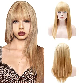 Solike Mittellang Gerade Blonde Perucken Bob Frisur Synthetische