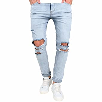 Rambling New Mens Stretchy Ripped Skinny Biker Jeans Destroyed Tapered Slim Fit Denim Pants by Rambling