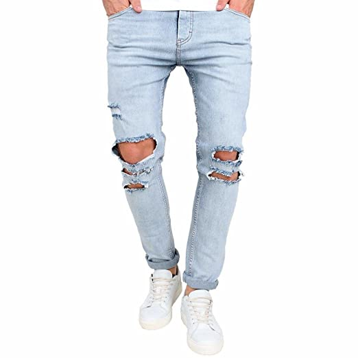 f5d1b15f Image Unavailable. Image not available for. Color: Rambling New Mens  Stretchy Ripped Skinny Biker Jeans Destroyed Tapered Slim Fit ...