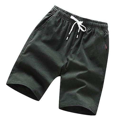 96f92eb7b4e6 iLXHD Men's Shorts Summer Casual Solid Color Drawstring Loose Beach ...