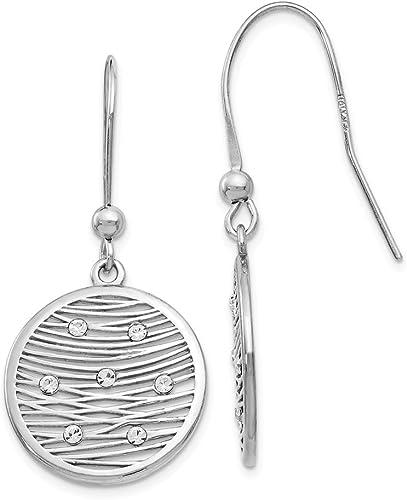 Leslie/'s Ladies 925 Sterling Silver Polished Preciosa Crystal Earrings