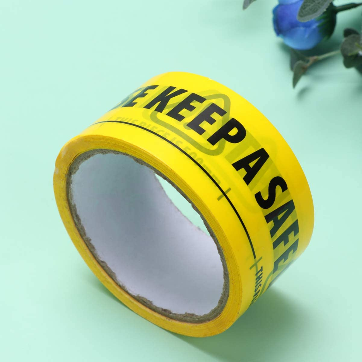 EXCEART Yellow Social Distancing Stickers Tape Roll Please Keep A Safe Distance of 2 Meters Warning Caution Tape Floor Warning Sticker for Construction Hazard