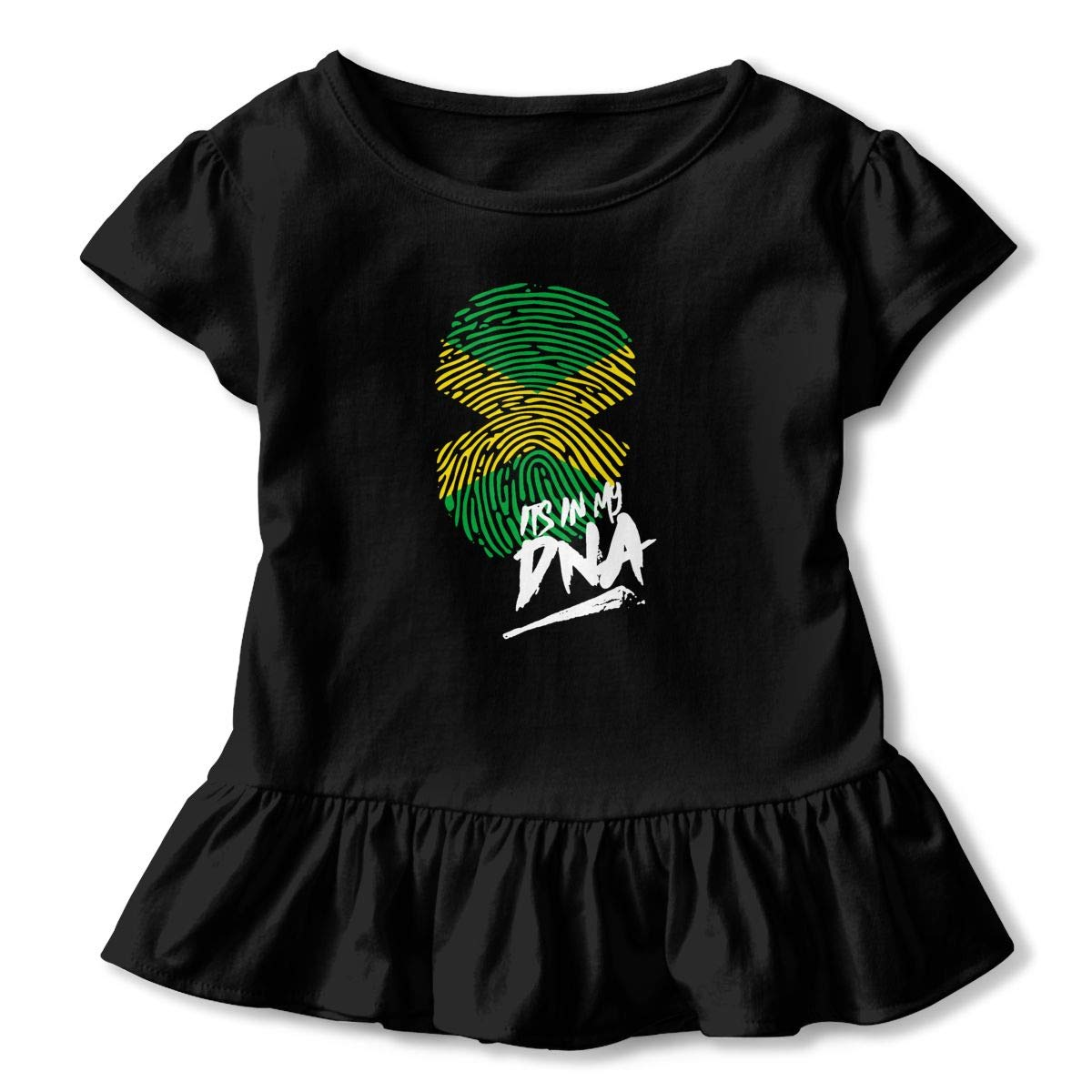 Its in My DNA Jamaican Ethnic Pride Motivational Toddler Baby Girls Cotton Ruffle Short Sleeve Top Cute T-Shirt 2-6T