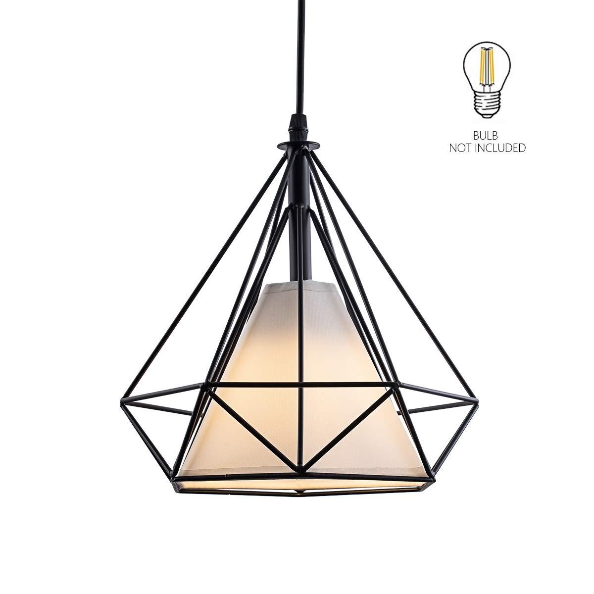 HOGOL Modern Geometric Pendant Lighting, Adjustable Wire Iron Diamond Shade Light Fixture for Kitchen Island Dining Room Hallway