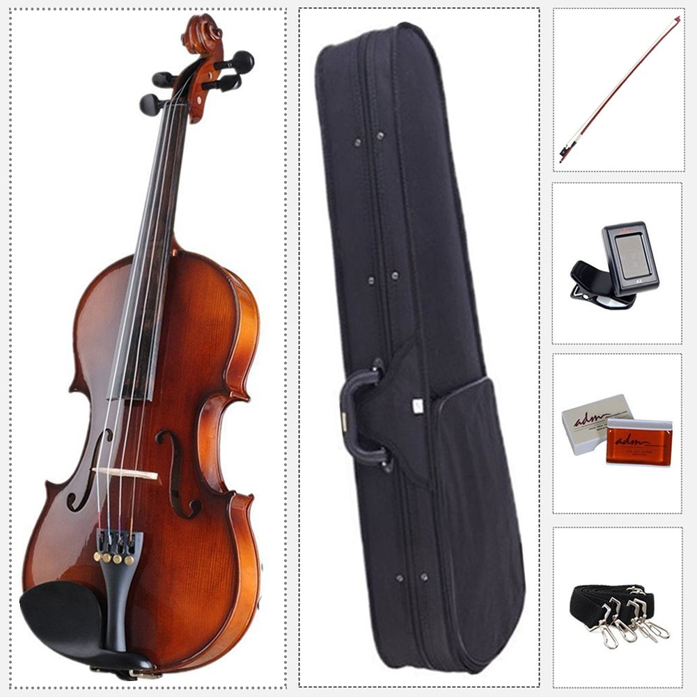ADM Acoustic Violin 4/4 Full Size with Hard Case, Beginner Pack for Student, Red Brown by ADM