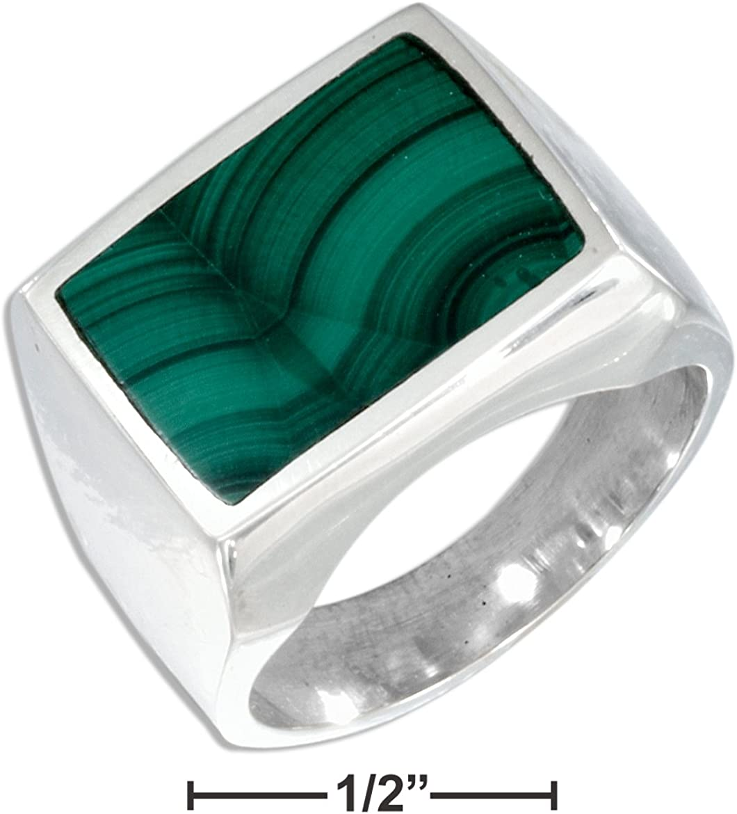 Sterling Silver Mens Rectangular Simulated Malachite Ring