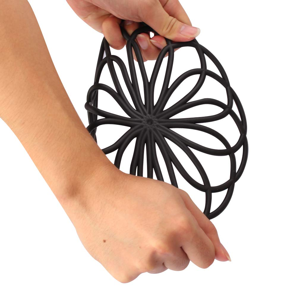 ME.FAN 3 Set Silicone Multi-Use Flower Trivet Mat - Premium Quality Insulated Flexible Durable Non Slip Coasters Hot Pads Black by ME.FAN (Image #7)