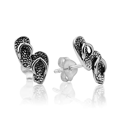 abdb932ba Image Unavailable. Image not available for. Color: 925 Oxidized Sterling  Silver Little Flip Flop Slipper Pairs Beach Shoes 12 mm Post Stud Earrings