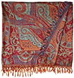 Rococco-Red Reversible Super-Silk Jamawar Bedspread with Woven Paisleys - Pure Silk