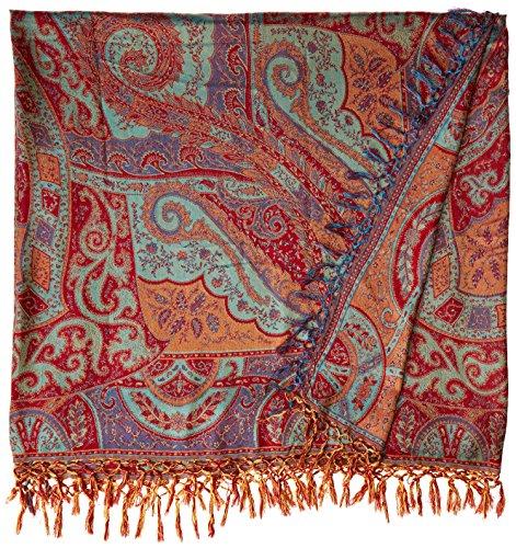 Rococco-Red Reversible Super-Silk Jamawar Bedspread with Woven Paisleys - Pure (Jamawar Bedspread)