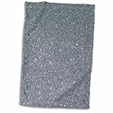 3D Rose Silver Glamour Glitter Style Hand Towel, 15'' x 22''
