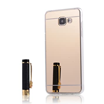 LXHGrowH Funda Samsung Galaxy A5 2016, [Ultra Delgada] Carcasa con Espejo para Samsung Galaxy A5 2016 Cover Silicona TPU Protectora Oro Cubierta