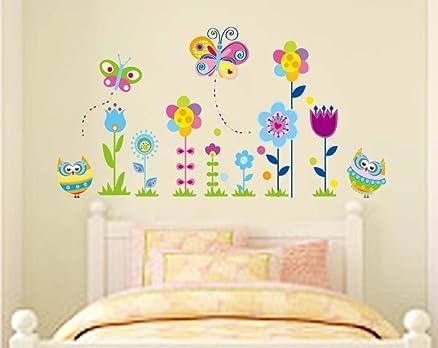 ufengke® Gufi Cartone Animato Farfalle e Fiori Adesivi Murali ...