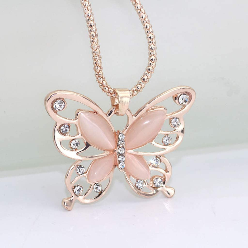 Lutos Charm Iced Out Butterfly Crystal Pendant Long Chain Necklace Hollow Statement Jewelry for Women and Girls Gift Gold