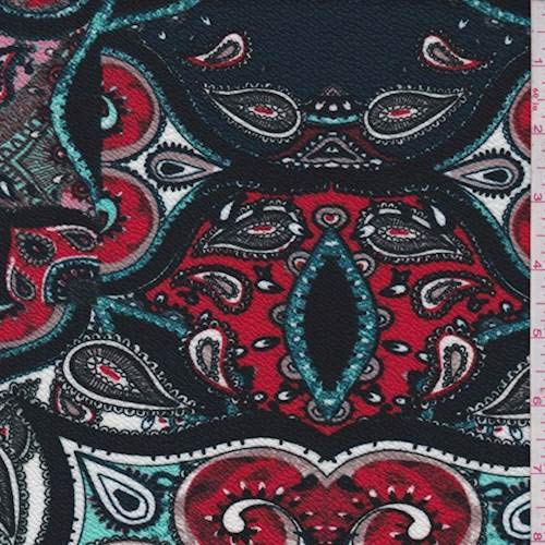 Hunter/Red Paisley Medallion Textured Liverpool Knit, Fabric by The Yard ()