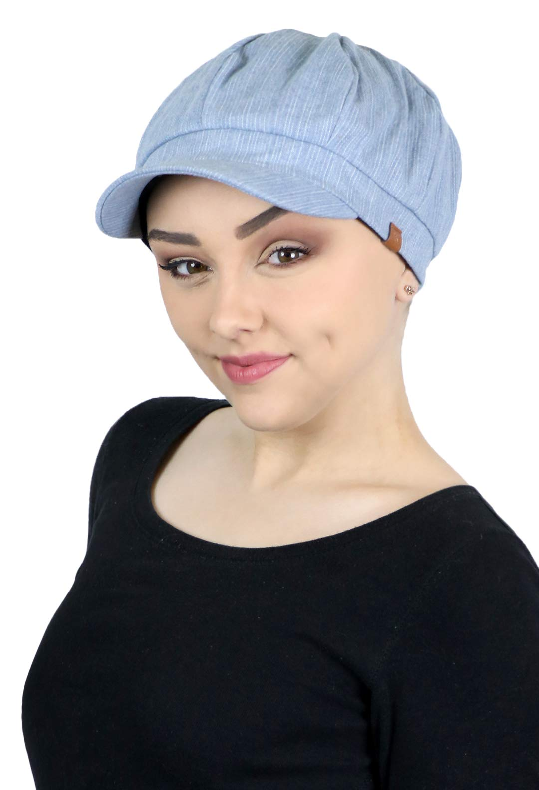 Newsboy Cap for Women Cabbie Gatsby Summer Hats Ladies Chemo Headwear Head Coverings Denim (Chambray)