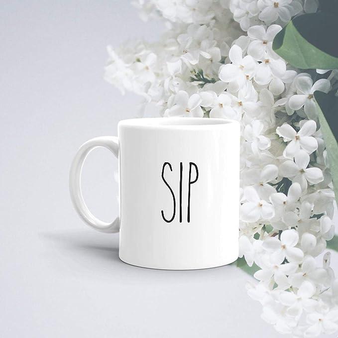 Amazon.com: Rae Dunn Inspired Mug | Sip Mug | Minimalistic Mug | Minimal Gifts | Rae Dunn | Coffee Mug | Tea Cup | Rae Dunn | Birthday Gifts | Gift Mug: Kitchen & Dining