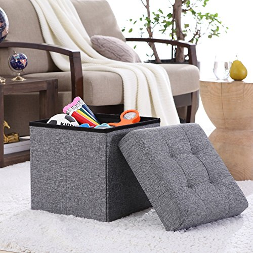 Ellington Home Foldable Tufted Linen Storage Ottoman Cube Foot Rest Stool/Seat – 15″ x 15″ (Grey)