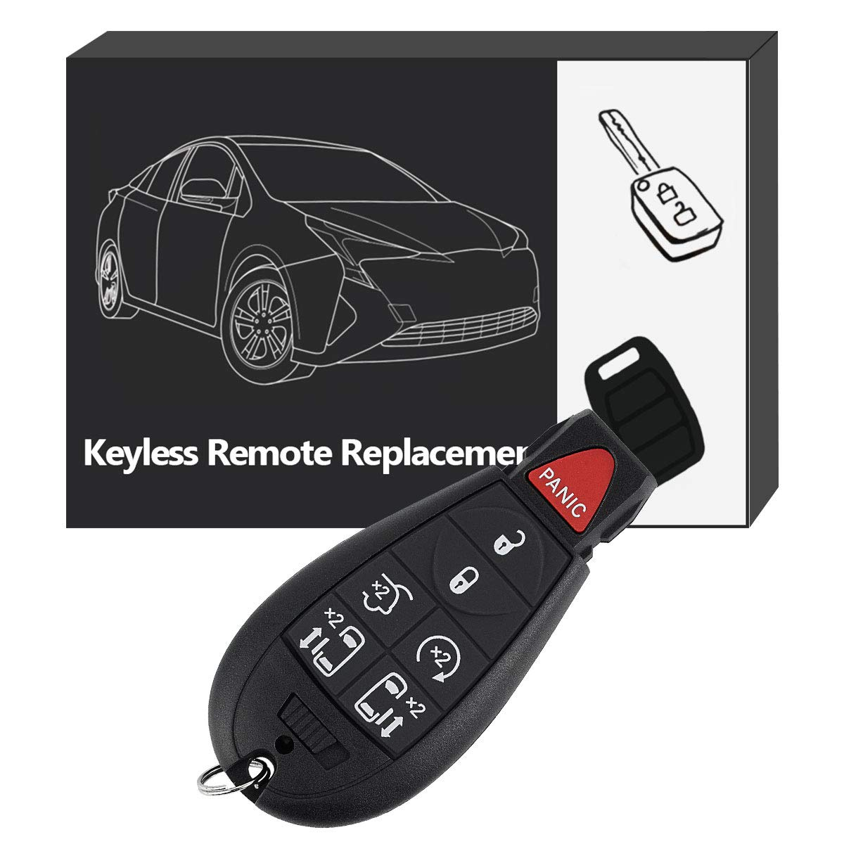 YITAMOTOR Car Key Fob Compatible for Dodge Grand Caravan 2008 2009 2010 2011 2012 2013 2014 Keyless Remote Entry Control 7-Button