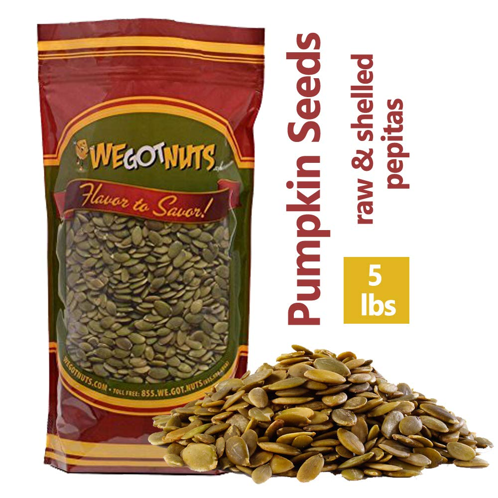 We Got Nuts Pumpkin Seeds Healthy Snacks 5Lbs Bag | Raw Pepitas No Preservatives Added, Non-GMO, NO PPO, 100% Natural With No Shell | For Baking, Salad Toppings, Cereal, Roasting | Low Calorie Nuts, by We Got Nuts