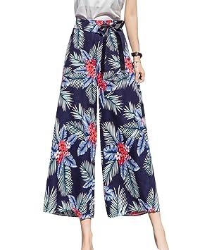 Pantalones De Fiesta Para Mujer Pantalones Anchos Largos Holgados Palazzo Pantalones  Gasa Floral Impreso 2XL  Amazon.es  Deportes y aire libre 5073e002e21