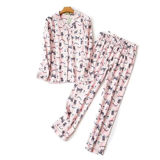 HIUGHJ Pijamas Rosa Kawaii Gatos Pijama Mujer Conjuntos Otoño ...